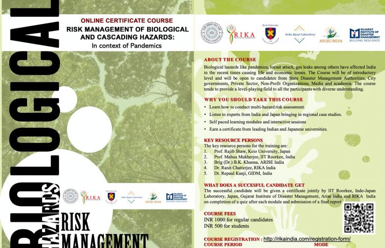 Online Certificate Course on Risk Management of Biological and Cascading Hazards: In context of Pandemics